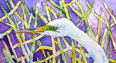 Egret Batik Painting - Heron In Everglades by Gloria Avner