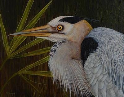 Painting - Heron In Hiding by Nancy Lauby