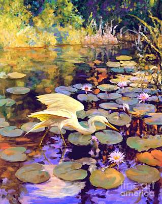 Painting - Heron In Lily Pond by David  Van Hulst
