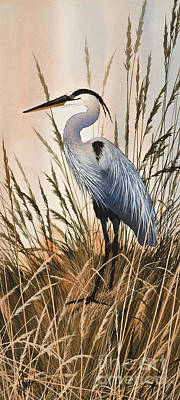 Heron In Tall Grass Original by James Williamson