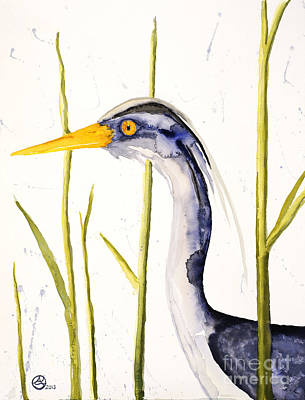 Ladywholovesbirds Painting - Heron In The Reeds by Alexandra  Sanders