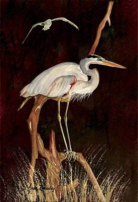 Painting - Heron In Tree by Anne Beverley-Stamps