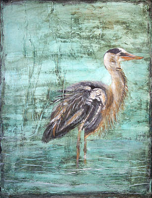 Mixed Media - Heron In Water by Stephanie  Kriza
