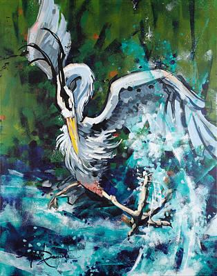 Kicked Painting - Heron Kickin' It by Mark Daniels