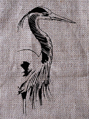 Heron On Burlap Art Print