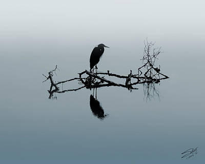Digital Art - Heron On Submerged Tree Branch by IM Spadecaller