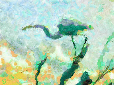 Horizontal Mixed Media - Heron Poised For Flight by Priya Ghose