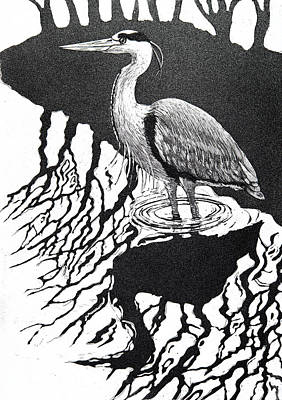 Herons Drawing - Heron Reflections, 2017, (etching/aquatint) by Jane Peart
