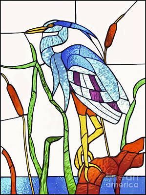 Glass Art - Heron  by Walt Foegelle