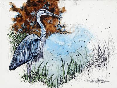 Virgil C Stephens Painting - Heron by Virgil Stephens