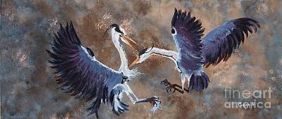 Heron Painting - Herons At War by Corina Hogan