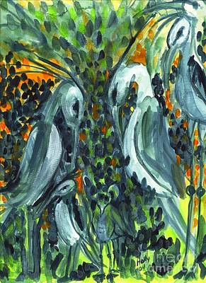 Painting - Herons by Holly Carmichael