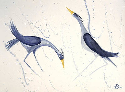 Herons In The Rain Art Print