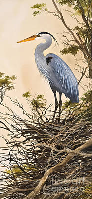 Great Blue Heron Painting - Herons Secluded Home by James Williamson