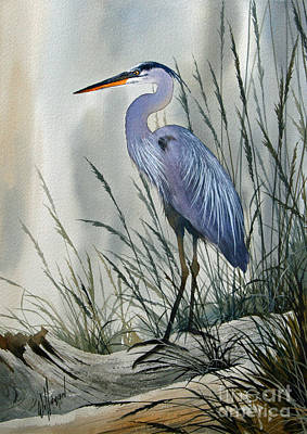 Blue Heron Painting - Herons Sheltered Retreat by James Williamson