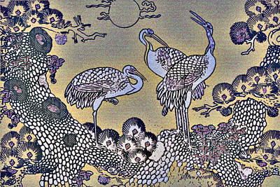 Herons Under The Moon Original by Wide Awake Arts