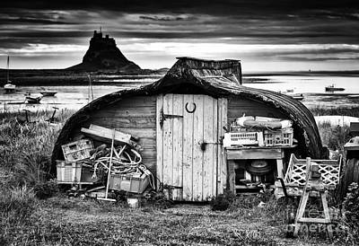 Herring Boat Hut Lindisfarne Monochrome Art Print by Tim Gainey