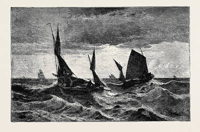 Herring Drawing - Herring Fishing In The Channel by English School
