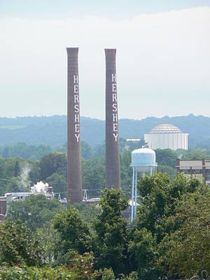 Art Print featuring the photograph Hershey Smoke Stacks by Michael Porchik