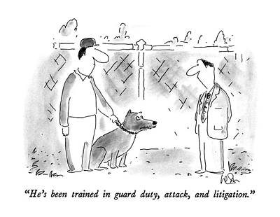 Leashes Drawing - He's Been Trained In Guard Duty by Arnie Levin