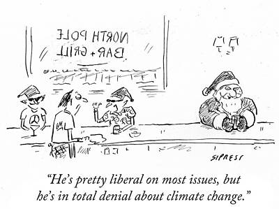 Elf Drawing - He's In Total Denial About Climate Change by David Sipress