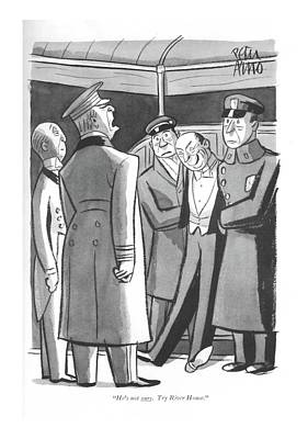 Drunk Drawing - He's Not Ours. Try River House by Peter Arno