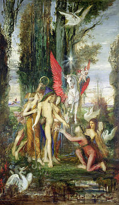 Pegasus Painting - Hesiod And The Muses by Gustave Moreau