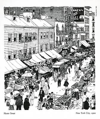 Art Print featuring the drawing Hester Street by Ira Shander
