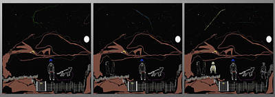 Digital Paint Digital Art - Heterogeneous Crew Under Stars Panel by SC Heffner