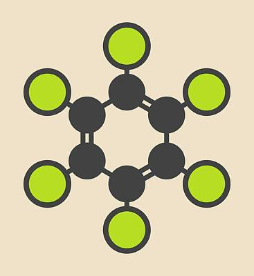 Hexachlorobenzene Fungicide Molecule Art Print by Molekuul