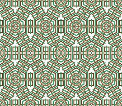 Hexagon And Square Pattern Art Print by Jozef Jankola