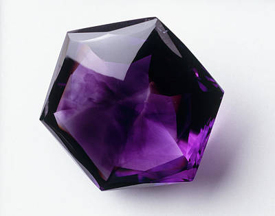 Amethyst Photograph - Hexagonal Mixed-cut Amethyst by Dorling Kindersley/uig