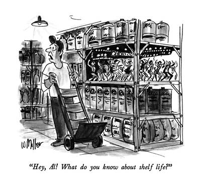 Miniatures Drawing - Hey, Al!  What Do You Know About Shelf Life? by Warren Miller