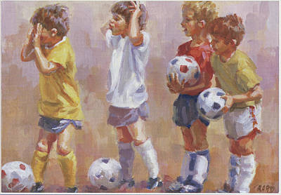 Little League Painting - Hey Coach by Lucelle Raad