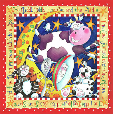 Nursery Rhyme Painting - Hey Diddle Diddle by P.s. Art Studios