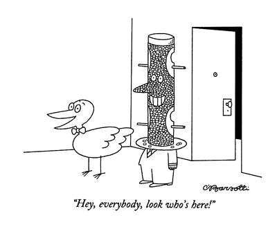 Bird Feeder Drawing - Hey, Everybody, Look Who's Here! by Charles Barsotti