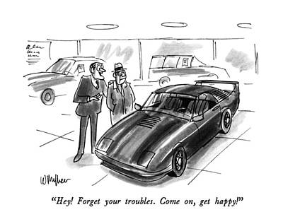 Sport Car Drawing - Hey!  Forget Your Troubles.  Come by Warren Miller