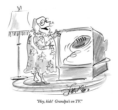 Hey, Kids!  Grandpa's On Tv Art Print
