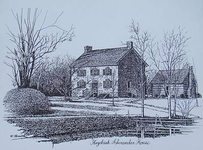 Hezekiah Alexander House Etching Art Print by Charles Roy Smith