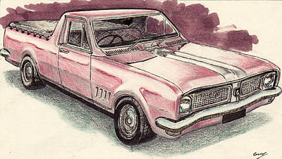 Drawing - Hg Holden Ute by Guy Pettingell
