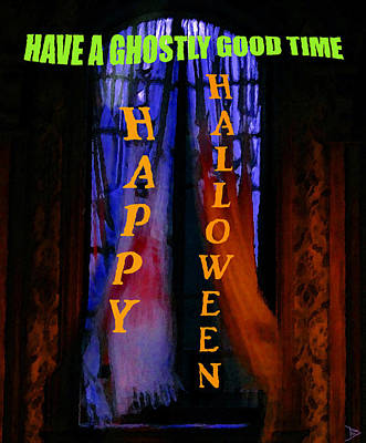 Good Times Painting - Ghostly Good Time Halloween Card by David Lee Thompson