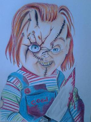 Guys And Dolls Drawing - Hi I'am Chucky  Wanna Play by Denisse Del Mar Guevara
