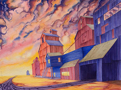 Grain Elevator Painting - Hi-line Facing West by Scott Kirby