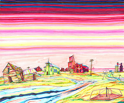 Ghost Towns Drawing - Hi-line Ghost Town by Scott Kirby