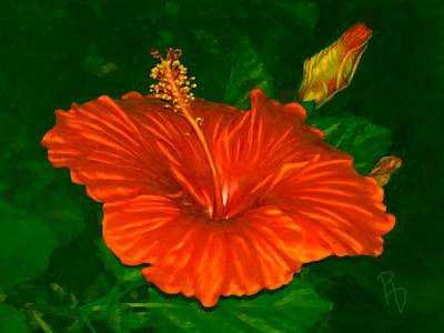 Digital Art - Hibiscus At Dusk by Ric Darrell