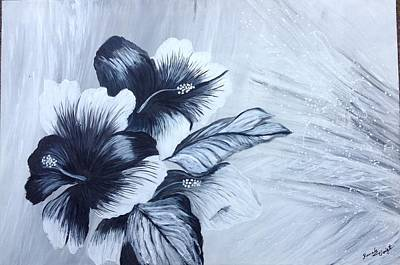 Painting - Hibiscus  Black And White by Renate Voigt