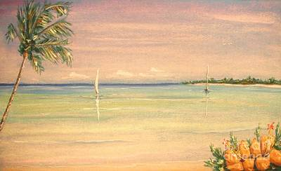 Painting - Hibiscus Cove by The Beach  Dreamer