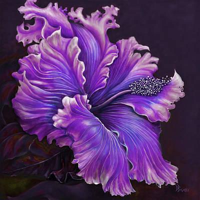 Hibiscus Painting - Hibiscus Fever Purple by Debra Bucci
