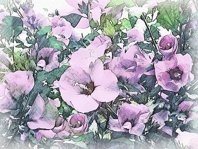 Autumn Scene Drawing - Hibiscus Floral Garden by Philip White