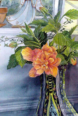 Painting - Hibiscus In A Painted Vase by Carole  DiTerlizzi